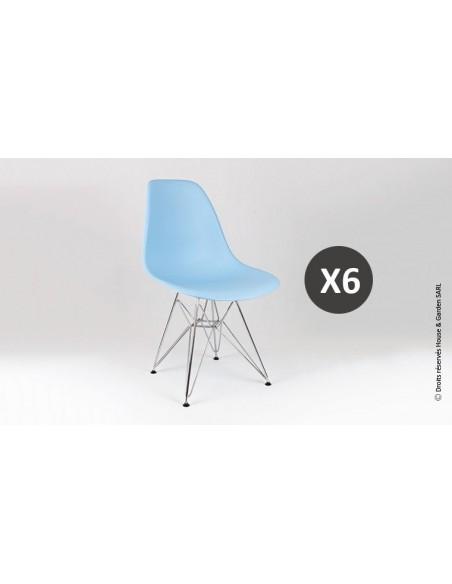 Chaise design bleu ciel