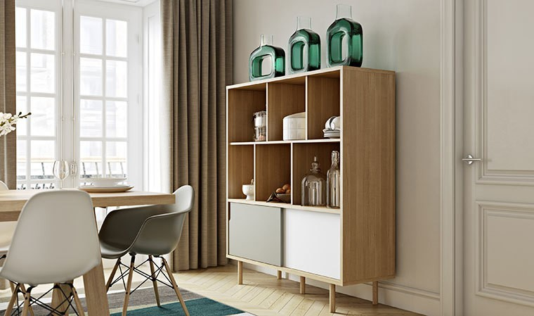 buffet haut scandinave design ch ne blanc et gris. Black Bedroom Furniture Sets. Home Design Ideas