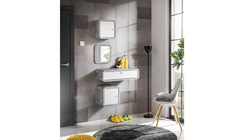 Coiffeuse murale grise et blanche