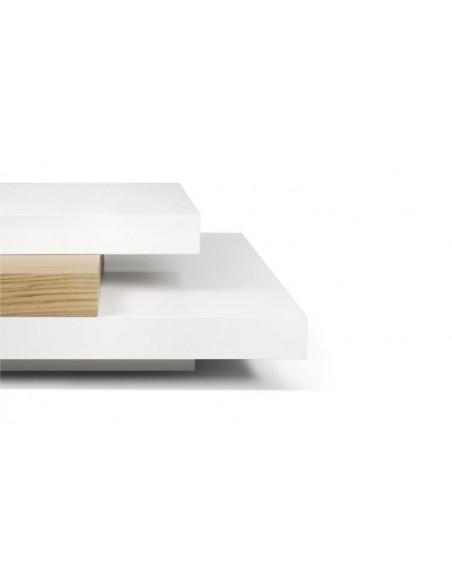 Table basse finition blanche et noyer 3 niveaux