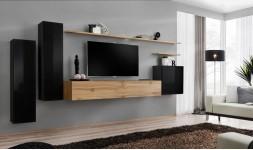 Meuble tv mural noir et chêne