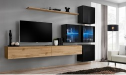 Salon complet TV mural noir