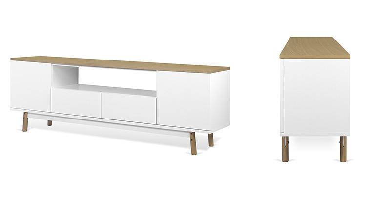 meuble tv scandinave blanc et chene lyon