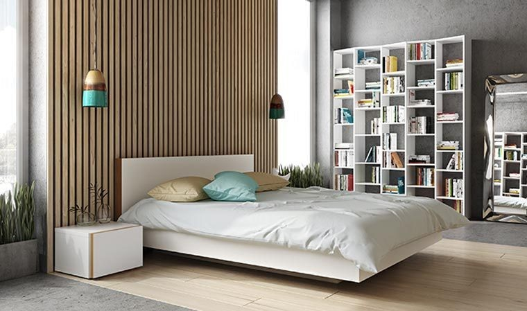 lit design en bois blanc mat queen size 160x200 en bois float. Black Bedroom Furniture Sets. Home Design Ideas