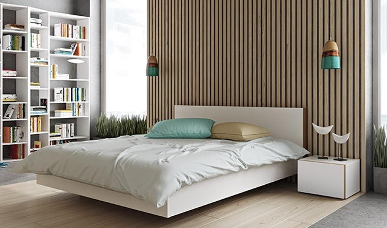 lit adulte moderne blanc en bois 180 x 200 cm float. Black Bedroom Furniture Sets. Home Design Ideas