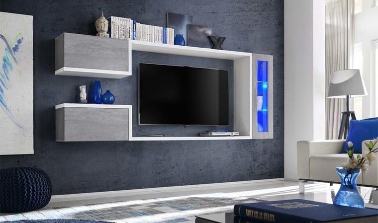 Meuble tv suspendu blanc brillant