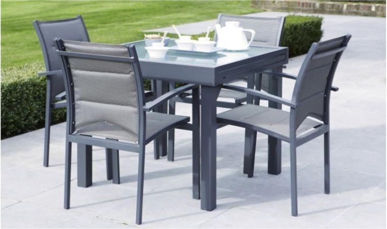 Salon de jardin modulo gris 4 personnes - table extensible