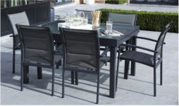 Salon de jardin gris anthracite 6 fauteuils