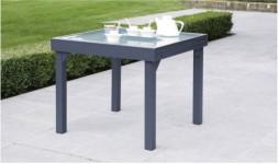 Table de jardin carrée rallonge grise anthracite