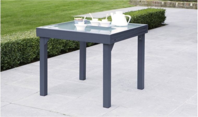 table de jardin carr e extensible grise anthracite 4 8 personnes. Black Bedroom Furniture Sets. Home Design Ideas