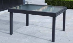 Table de jardin extensible en aluminium 6 à 10 places grise anthracite