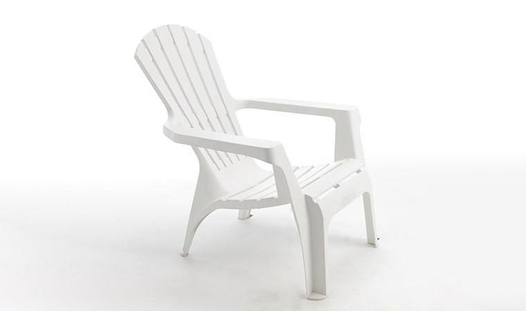 Fauteuil de jardin blanc design adironback en plastique rigide