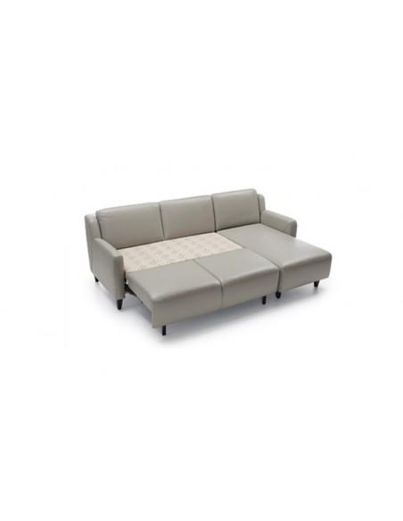 Canapé d'angle en cuir convertible avec banquette clic clac
