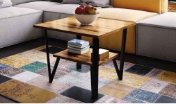 table basse chêne massif double plateau