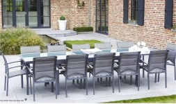 Grand salon de jardin gris anthracite