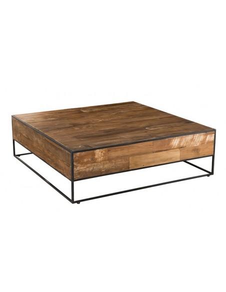 table teck piétement acier