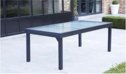 Table de jardin Modulo GRISE 8 à 12 personnes en Aluminium avec Rallonges
