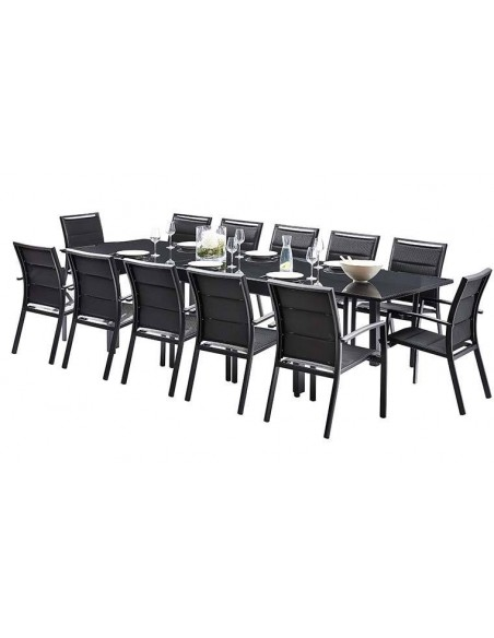 Salon de jardin 12 places en aluminium noir