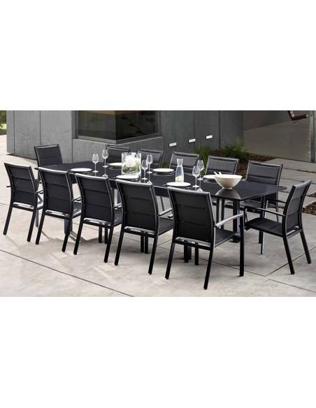 Table de jardin noire 8 12 personnes