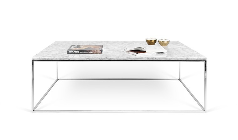 table basse en marbre blanc de carrare avec pieds en acier chrom. Black Bedroom Furniture Sets. Home Design Ideas