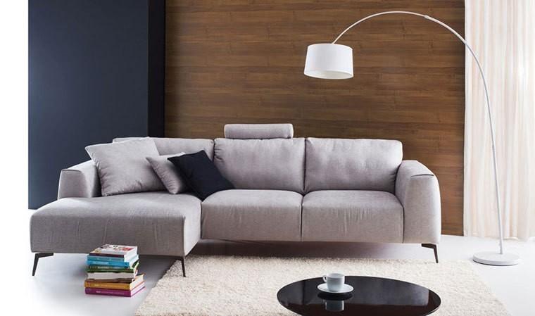 Canapé d'angle vintage en tissu avec méridienne