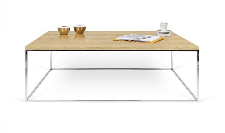 table basse en ch ne naturel et pieds en acier chrom gleam. Black Bedroom Furniture Sets. Home Design Ideas