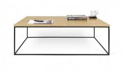 Table basse en chêne vernis et pieds en acier noir