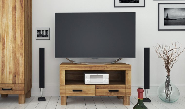Petit meuble tv ch ne massif sauvage 2 tiroirs et 1 tag re denver - Meuble tv petit ...