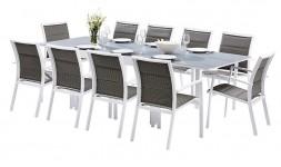 Salon de jardin 10 places blanc et gris perle