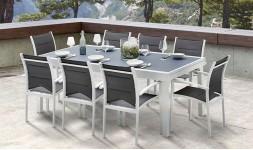 Salon de jardin 8 personnes blanc et gris