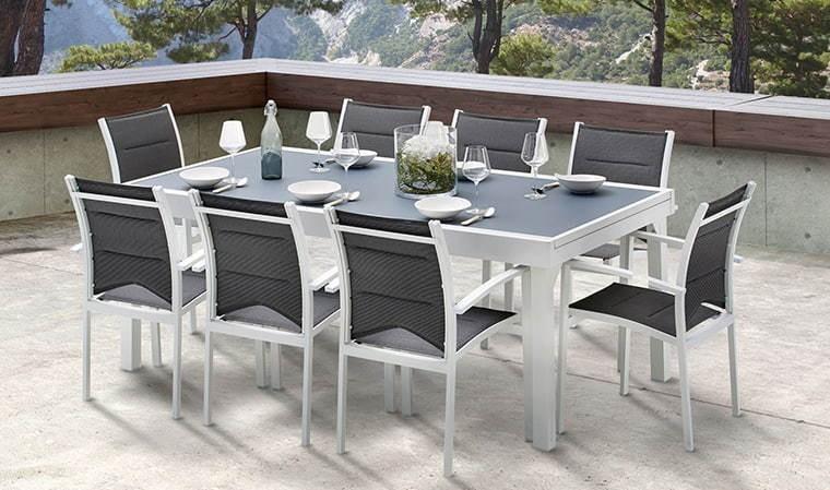 Salon de jardin blanc et gris 8 personnes - table extensible