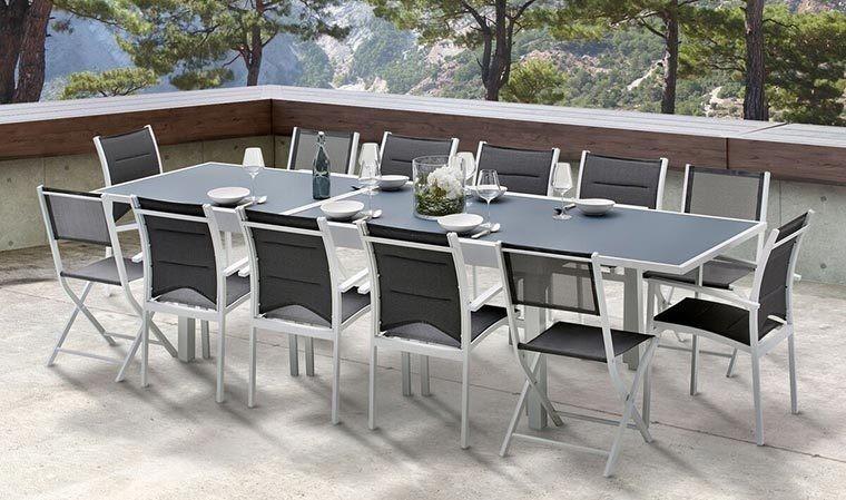 Salon de jardin extensible 12 places blanc et gris perle