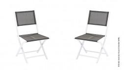Chaise de jardin en aluminium blanc et gris