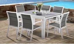 Table de jardin à rallonges blanche et grise Modulo