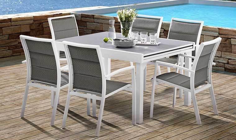 table de jardin extensible gris perle avec rallonges 6 a 10 ...