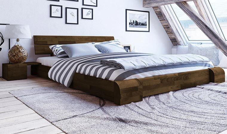 Lit design en bois massif pas cher