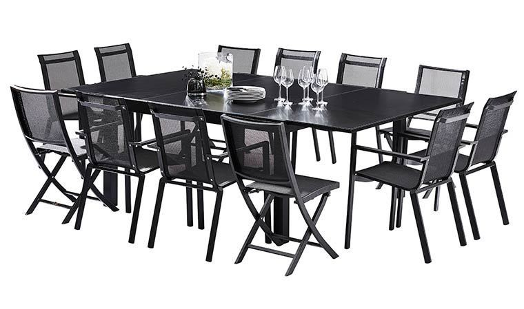 salon de jardin noir 12 places en alumnium table extensible. Black Bedroom Furniture Sets. Home Design Ideas
