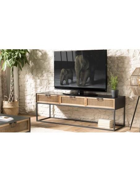 meuble tv métal et rotin