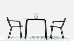 Table de jardin carrée design en acier 4 personnes Todus