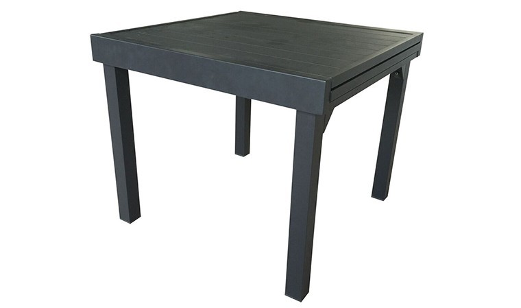 Table de jardin carrée extensible en alu gris anthracite - 4/8 places