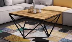 Table basse design chêne massif et métal