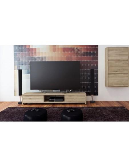 Meuble télé chêne massif blanchi