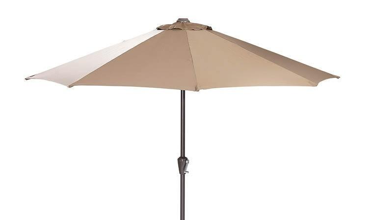 Parasol de jardin droit et rond beige taupe