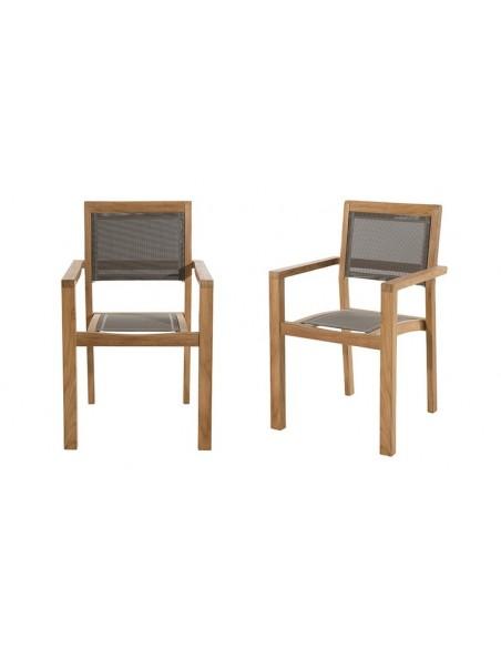 Ensemble jardin en teck 2 fauteuils