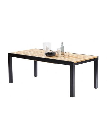 Grande table de jardin en teck et aluminium noir