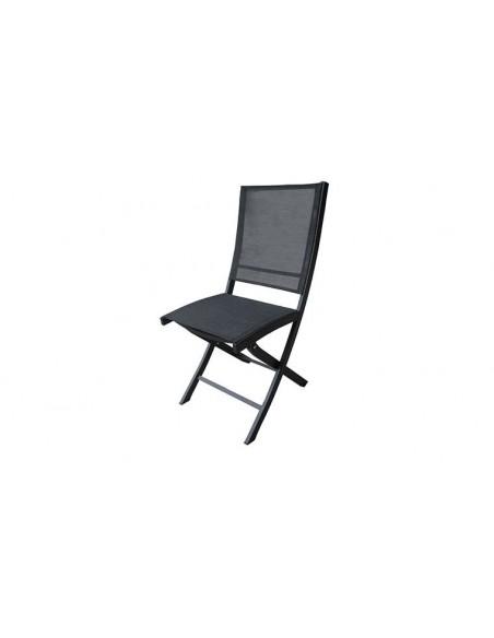 Chaise de jardin noire et pliante en aluminium