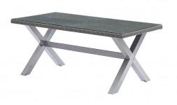 Table de jardin resine tressee grise