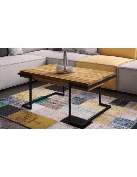 table basse chene et métal