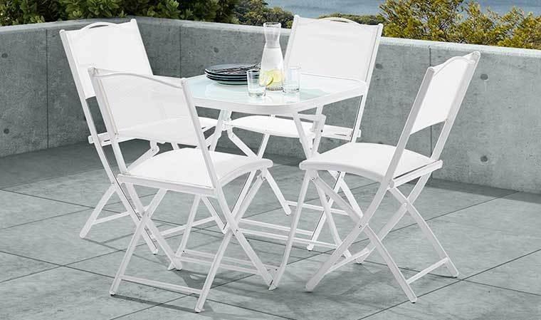 Ensemble de jardin blanc pas cher 4 places 1 table et 4 for Ensemble table et chaise blanc laque pas cher