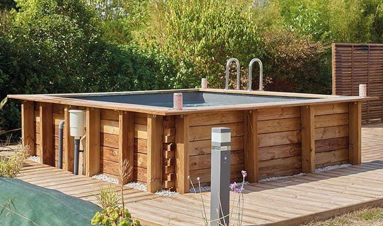 Piscine carr e en bois 3x3 m house and garden - Piscine bois haut de gamme ...